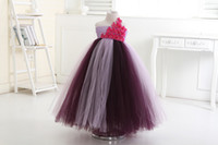 Wholesale Light Purple Pageants Single Shoulder V neck Handmade Girl Flower Princess Tutu Cotton Dress F Wedding Birthday Party Ball All Children size