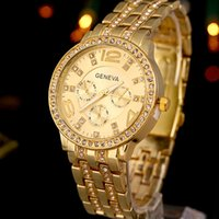 Wholesale Geneva Crystal - Luxury Watch Man Fashion Casual Stainless Steel Geneva Watch Gold Silver High End Business Mens Crystal Watch for Wens with Calendar
