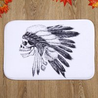 Barato Quarto Cartoon Preto Branco-Black and White Skull Bath Mats 100% poliéster Coral Fleece Rectangle Desenhos animados antiderrapante Bathroom Bedroom Carpet Home Mat
