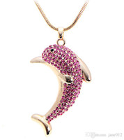 Wholesale Long Swarovski Necklace - Swarovski Elements Crystal Dolphins Necklace Women Fashion Jewelry Accessories Long Sweater snake Chain pendant necklace NE191