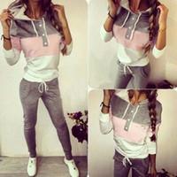 Wholesale Women S Pink Ski Pants - 2016 Women Tracksuit Sportswear Set Sport Suit Women Hooded Sweatshirts Letter printed Casual Hooded + Pants Sport Jogging Suits