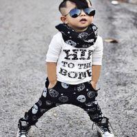 Wholesale Skull Harem Pants Baby - Letter Print T Shirt Top+Skull Harem Pant Sport Suit For Baby Boy Clothes Costume Spring Autumn Children Kid Set Tracksuit Clothing