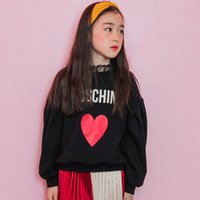 Wholesale Velvet Clothing Brand - Girls T-shirts Kids printed velvet letters love heart Tops Children long sleeve loose warm Tees Autumn Winter Kids warm clothes C1895