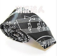 """Wholesale Music Neck Ties - Wholesale-2pcs of 2"""" Poly Ties Black And White Casual Musical Notes Slim Tie Music Style Design Necktie Skinny Fashion Tie For Men"""