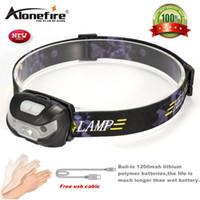 Wholesale Headlight Sensor - AloneFire HP31 Mini Rechargeable LED Headlamp 3000Lm Body Motion Sensor Headlight Camping Flashlight Head Light Torch Lamp With USB