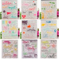Wholesale Stamps Albums - Colorful Thank Love Greetings Transparent Clear Silicone Stamp Seal Sheets DIY Diary Scrapbooking Card Photo Album Decoration