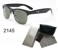 Wholesale Wholesale Rimless Sunglasses - 2017 half frame sunglasses women men Club Master Sun glasses outdoors driving glasses uv400 Eyewear whit brown case