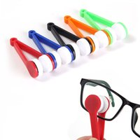 Wholesale random tools - 50PCS Eye Glass Cleaner Microfiber Plastic Brush Sunglasses Lens Cleaning Wipes Tools Multifunction Portable Brush Random Color