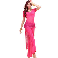 Wholesale Purple Belly Dance Top - 2016 Belly Dancing Clothes 3pcs(Top+Pants+Hip Scarf) Bellydance Indian Dress Bollywood Dance Costumes Danca Do Ventre