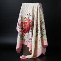 Wholesale Wholesale Squared Silk Printed Scarves - Autumn Winter New Silk Imitation lady Flowers Print shawls Women's Scarf square Wraps 90x90cm