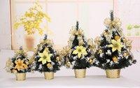 blauer weihnachtsbaum stern großhandel-Mini Weihnachtsbaum Weihnachtsschmuck auf dem Tisch DIY Party Exquisite gold blau kleine Baum Dekoration Party Supplie 3 Größe Großhandel