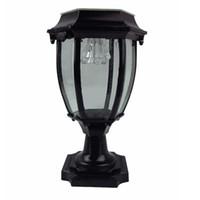 lampadaire de jardin achat en gros de-La lumière solaire imperméable en aluminium de LED de lumière de jardin de LED de barrière de porte de barrière de jardin a mené la lumière à la maison de lampe extérieure alimentée par pelouse