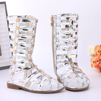 Wholesale Rainboots For Boys - Beach Shoes Sandals 2016 Children Summer Style Fashion Baby Sandals for Girls Hollow Stars Rivets Kids