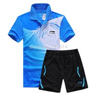 Wholesale Table Tennis Suit - New Li Ning sports series wicking breathable clothing badminton men's t-shirt table tennis clothes suit shirt + shorts 5020AB