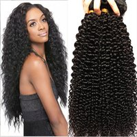Wholesale Cheap Real Hair Pieces - 100% Real Hair Best Hot Sale kINKY Curly Wavy Human Women Hair Cheap High Quality Nice Hair Extensions Hair Shade Brazil Black Hair Nigerial