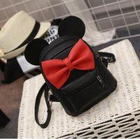 Wholesale Ear Phone Bags - Mickey Backpack 2017 New PU leather Women's bag Teen Girls Backpacks Cute Animals ears Sweet Bow Wild School Female Mickey Bag
