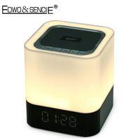 Wholesale Touch Sensor Led Lamp Speaker - Wholesale- EDWO DY28 4 In 1 Wireless Bluetooth Speaker Touch Sensor Stereo Handsfree LED Lamp Light Alarm Clock TF Card Music MP3 Player
