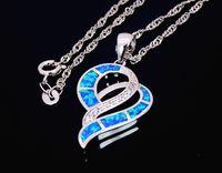 Wholesale Blue Opal Heart - Wholesale & Retail Fashion Jewelry Fine Blue Heart Fire Opal Stone Sliver Pendants Necklace For Women PJ17082710