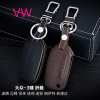 vw jetta anahtar kılıfı toptan satış-100% Hakiki Deri Araba Anahtarı Durumda Kapağı 3 Düğmeler Vw Touran Passat Jetta Için Katlanır Araba Anahtarı Tutucu Çanta Anahtarlık Araba Anahtarı Aksesuarları