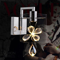 Wholesale Glass Contemporary - Contemporary Clear Glass Led Wall lamp 3W Candle Crystal Wall Sconce Living Room Bedside Wall sconces Project Light