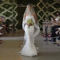 ingrosso fiore di pizzo bianco velato di avorio-Bianco / Avorio Cattedrale Velo da sposa con pettine 3M pizzo lungo Mantilla Velo da sposa Accessori con fiori Veu De Noiva