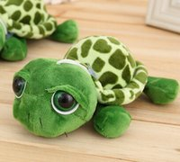 Wholesale Turtle Teddy - 12PCS 18cm Army Green Big Eyes Turtle Plush Toy Turtle Doll Turtle Kids Birthday Christmas Gift Free Shipping