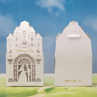 Wholesale Castle Candy - Wedding Favour Castle Candy Boxes Laser Cut Hollow Bride and Groom Lover Castle Candy Boxes for Wedding Decorations