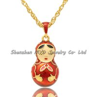 Wholesale Russian Eggs - Stylish women jewelry high quality necklace colorful enamel Russian matryoshka nesting doll Faberge egg pendants for ladies