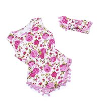 Wholesale Lace Bloomers For Toddlers - Baby girl Vintage rose floral romper Lace tassels romper toddler clothing for Newborn Jumpsuits Diaper covers bloomers playsuits + headbands