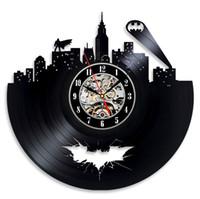 batman relógios de parede venda por atacado-Batman Arkham City Logo Melhor Relógio de Parede - Decore a sua casa com Modern Large Superhero Art