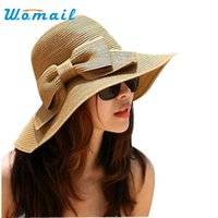 Оптом- Womail Bohemian Fashion Bowknot Summer Sun Floppy Hat Straw Beach Wide Large Brim Cap 2017
