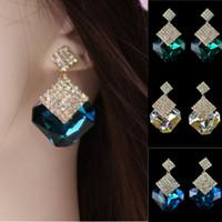 Wholesale Rhinestone Cc Earrings - 1 Pair Women Rhinestone Crystal Dangle Ear Studs Gold Plated Earrings Jewelry rose stud earring earrings cc