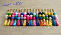 Wholesale Finder Electronics - Pom pom keychian Purse charm Tassel keychain Pom pom bag charm Handbag charms Tassel bag charm Pom pom key chain tassels Boho Gypsy 30pcs