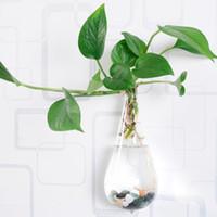 vaso de plantas suspensas venda por atacado-Claro escalada parede vaso de flor de vidro forma de gotículas de água plantas de ar terrário plantas verdes pendurado vasos para enfeites de natal decoração da sua casa