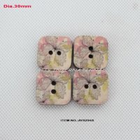 Wholesale China Wholesale Buttons - (60pcs lot) Vintage Butterfly painted square wooden buttons China scrapbooking 30mm--AY0294B