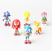 Wholesale Doll Hedgehog - 6cm aprrox 6 style Figure Sonic The Hedgehog Super Sonic Characters PVC Mini Toys Dolls with Retail Box 6pcs set
