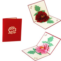 Wholesale Handicraft D Pop Up Greeting Cards Peony Birthday Valentine Flower Mother Day Christmas Invitation Card
