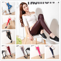 Wholesale Tight Leather Leggings For Women - 9 Colors leggings for women tights leggings faux leather pants Stretchy Skinny Leggings Sexy Women Lady Leathers Plus size LA225-1