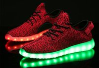 Wholesale Shoes Usb Grey - 2016 Colorful 350 Boost Led Shoes Light Up USB Loafers Sneakers Luxury Ladies for Men women Walking Shoe Mesh Sneakers glow in the dark