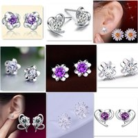 Wholesale Plum Silver Earrings - 925 Silver Earrings For Women Natural Crystal Fashion Jewelry Charm Stud Earrings Dasiy Plum Flower Heart Shaped Mix Styles
