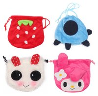 Strawberry Purse Panda String Bag Blue Turtle 6 Diseño Square Size 15.5CM Store Coins Candy