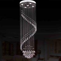 Wholesale Foyer Lighting Semi Flush - VALLKIN Modern Luster Crystal Chandeliers Lighting Fitting Staircase LED Pendant Lamp For Foyer Dining Restaurant Decoration