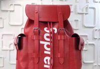 Wholesale Genuine Leather Backpack For Men - Designers Brand Name Hottest All Red Wallet Real Leather Backpack For Mens Jiont Limited Handbag Red Black Single shoulder bag M67541