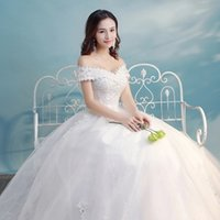 Wholesale Simple Wedding Dresses Korean Style - Bubble skirt Formal wedding dress Autumn And Winter New Korean style A word shoulder princess Large size Was thin Simple Qi wedding dresses