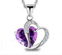 Wholesale Black Crystal Heart Pendant Necklace - Pendant Necklace for Women Girl Ladies Crystal Love Heart Pendants Necklaces Fashion Accessories Luxury Jewelry Wholesale 16 colors DHL SF