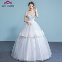 Wholesale Princess Ball Gown Dress Cake - ISER QUEEN Cake Shape Princess Wedding Dress Tiered Skirts Short Cap Sleeves Crystal Beads Lace up Vintage Bridal Wedding Gowns China WX0030