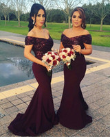 Wholesale Long Satin Fitted Dress - 2017 New Burgundy Off Shoulders Bridesmaid Dresses Sequins Bodice Backless Fitted Cap Sleeves Maid of Honor Dresses with Sweep Train