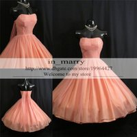 Wholesale Chiffon Strapless Short Prom Dresses - Vintage 1950's Bridesmaids Dresses 2016 Coral Cheap Real Image Short Prom Party Gowns Tea Length Plus Size Cocktail Formal Homecoming Gowns