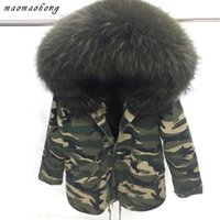 Wholesale Women Snow Jacket Fur - Camouflage military jacket men or women snow winter furs coat with Real raccoon fur Velvet liner Canada United States