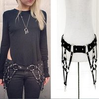 Wholesale Leather Body Harnesses For Women - Wholesale- Hot Sexy Punk Harajuku O-ring Buckles Rivet Faux Leather Harness Craft Body Bondage Studded Waist Belts Straps For Women Ladies